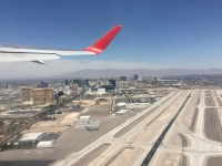 Las Vegas airport takeoff wing view
