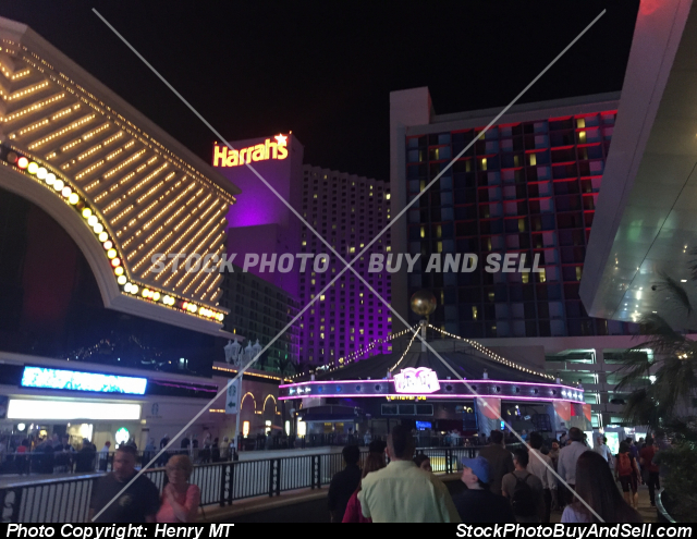 Harrah's Casino Las Vegas Strip night view
