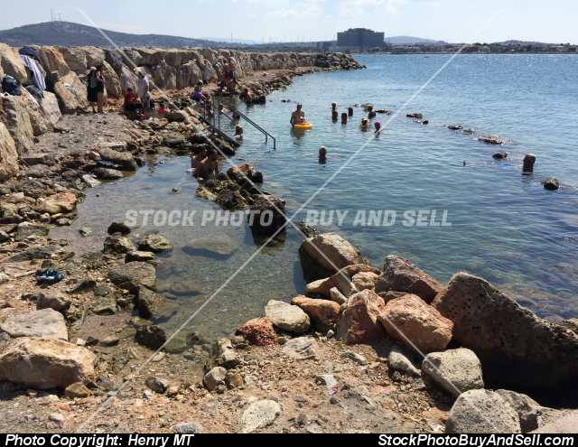Stock photo - thermal springs healing beach Cesme Turkey