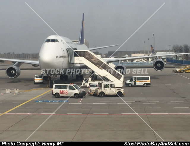 Stock photo - Lufthansa Boeing 747-400 airplane Frankfurt