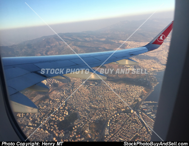 Stock photo - Turkish Airline Airbus A321 wing view over Izmir Turkey