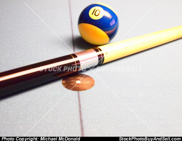 Stock photo - American Pool Cue and Ball