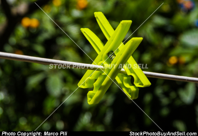 Stock photo - Two green clothes pegs hanging from a thread to spread the laundry to dry