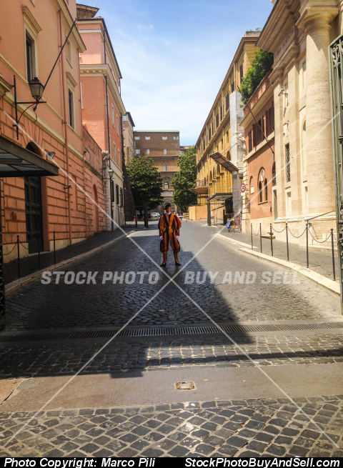 Stock photo - Soldier of the Swiss Guard with the famous uniform, in service at the Courtyard of San Damaso in the Vatican City, Rome