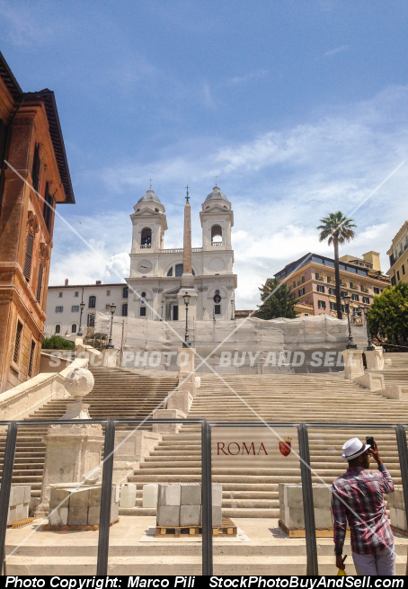 Stock photo - The famous stairway of Trinità dei Monti, Rome, Italy. Working in progress
