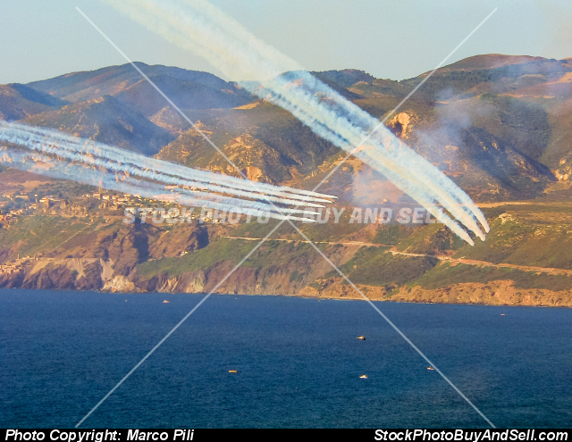 Stock photo - Italian acrobatic patrol of the military air force, named Frecce Tricolori