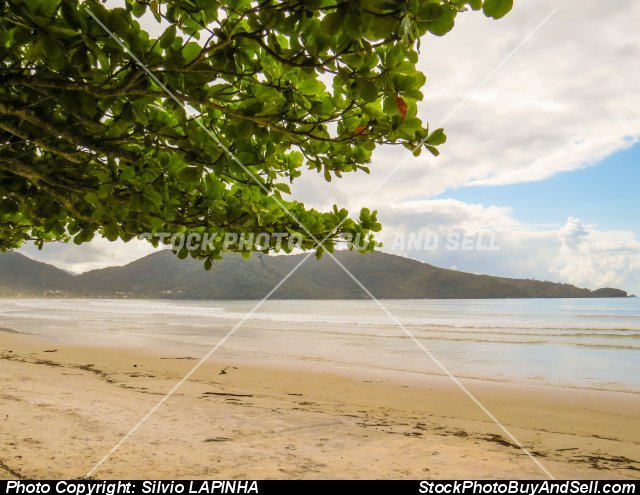Stock photo - Ubatuba, São Paulo, Brazil, view of Lagoinha Beach, with a bay in the background.
